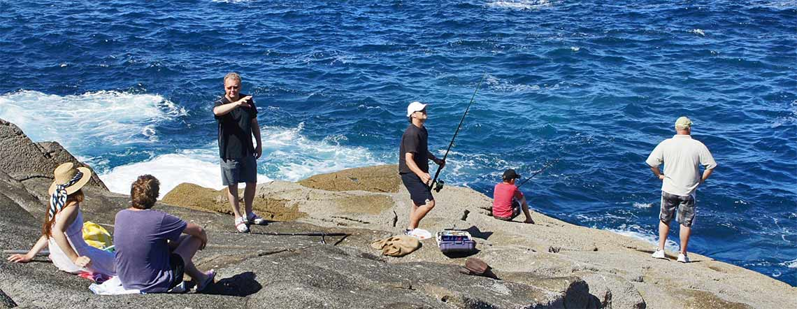 Rock Fishing at Kauri Mountain Point in New Zealand