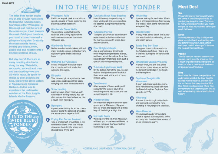 Map of the Tutukaka Journey 'Into the wide blue Yonder'