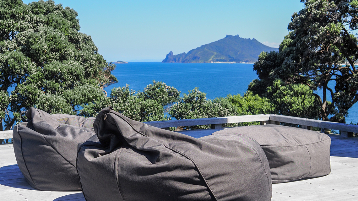 Coast Beanbags on deck Whangarei Heads