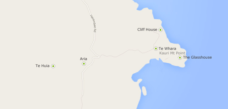 Google map showing an Overview of the Ara Roa Holiday Accommodation Properties
