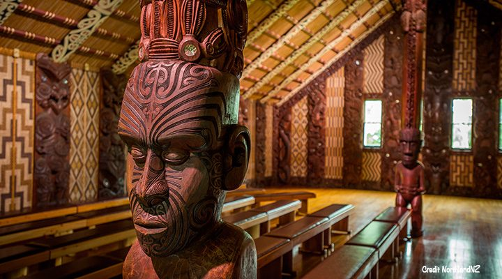 Inside a marae at the Waitangi Treaty grounds