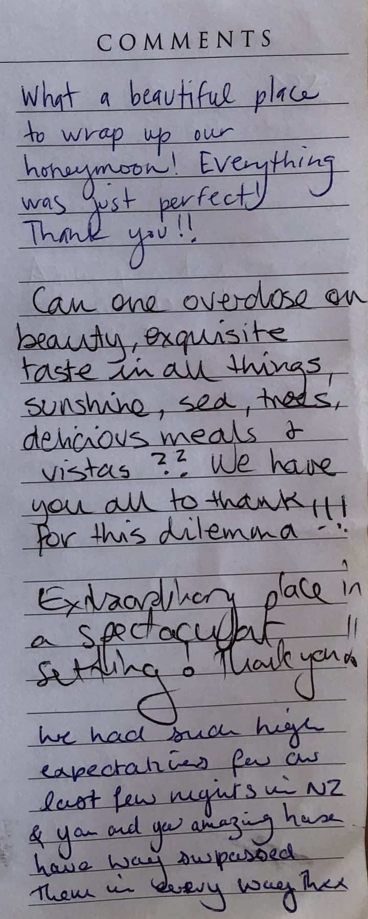 guest feedback the Glasshouse