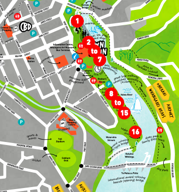 Map of Whangarei Town Basin with icons on where to find art and heritage info