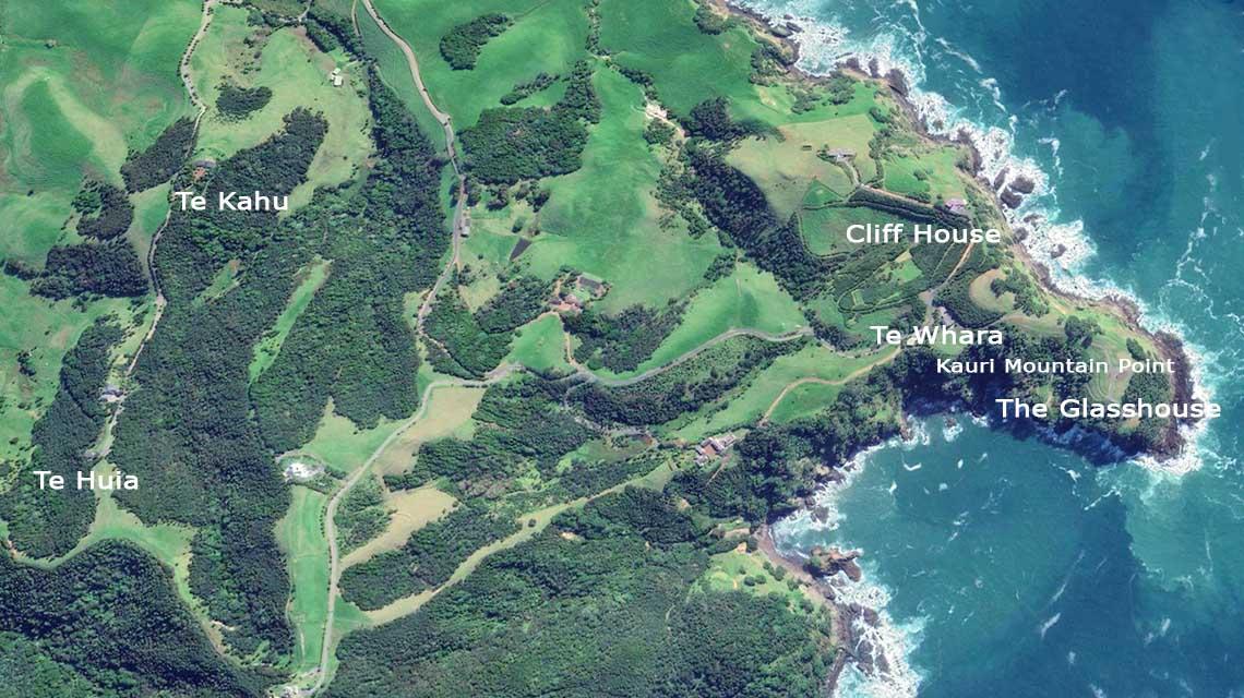 Northland luxury accommodation aerial image